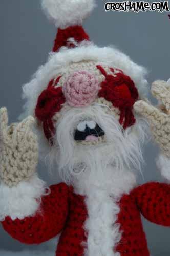 Santa Clawed face close upward